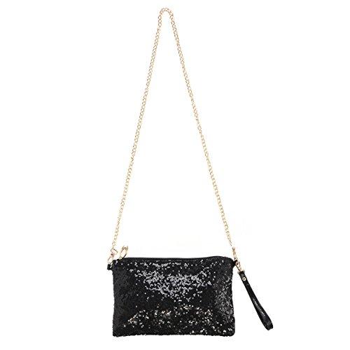 OULII Moda Glitter Bag borsa partito sera frizione borsa a tracolla per le donne (nero)
