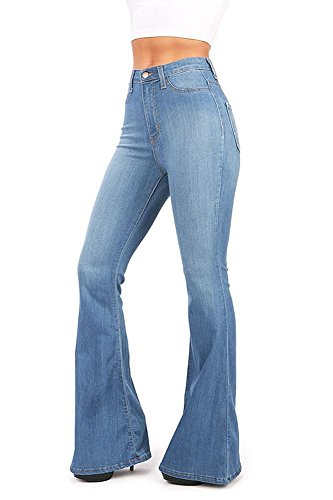 Vibrant Women's Juniors Bell Bottom High Waist Fitted Denim Jeans ...