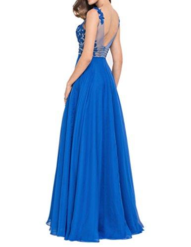 Royal Damen Partykleider Charmant Abendkleider Lang Blau Ballkleider Kurzarm Blau Spitze Royal Festlichkleider F5dnW8qd