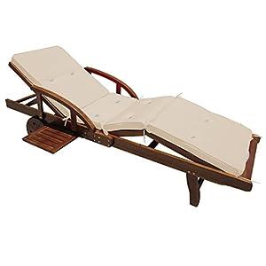 Coussin Detex® pour transat Chaise Longue de Jardin Crème 195 cm Rembourré Relax