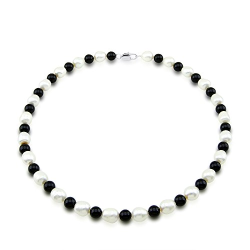 Classic 10-11mm White Freshwater Cultured Pearl and Black Onyx Necklace 20 , Base Metal Clasp