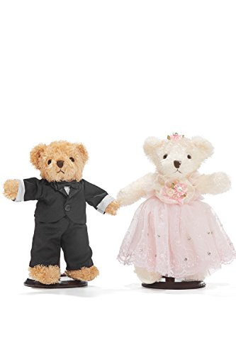 "Wedding Teddy Bears Just Married Bear Couple Newlyweds Stuffed Animals Toy Set 10"" (light brown, black, white, cotton candy pink)"