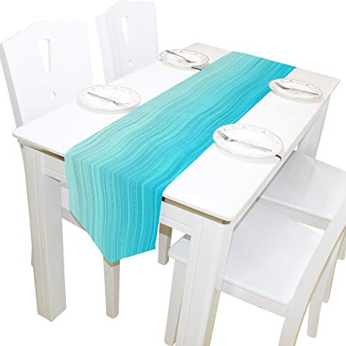 OPRINT Table Runner Home Decor,Aqua Blue Wavy Stripes Sea Horizon Polyester Table Runner Placemat for Wedding Party Coffee Table Mat Decoration 13 x 90 inches