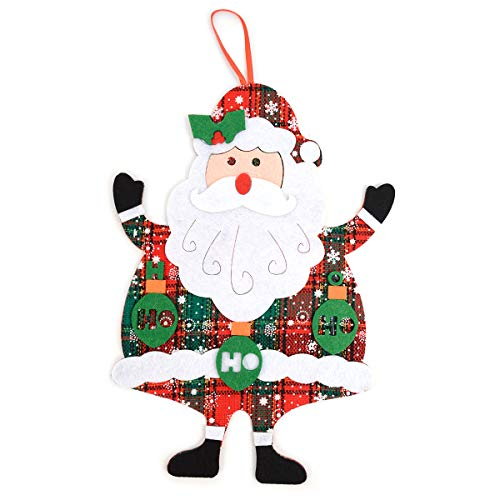 (BG Felt Merry Christmas Red and Green Plaid Santa Claus Christmas Tree Ornament Hanging Wall Décor)
