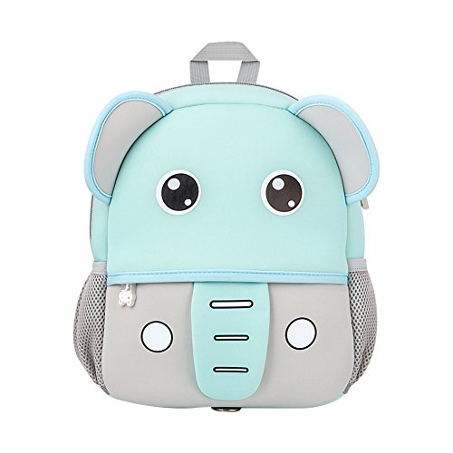 Jenuther Toddler Backpack, Waterproof Cute Cool Animal Cartoon Baby Carry Bag Schoolbag, Preschool Bookbag for Kids Playful Lunch Boxes with Safety Harness, Elephant