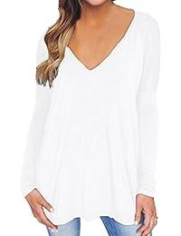 Women's Blouse Tunic Shirt Tops V Neck Long Sleeve Flared Loose Tee