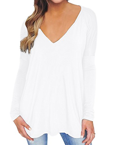 ZANZEA Women's Blouse Tunic Shirt Tops V Neck Long Sleeve Flared Loose Tee White US - White Blouse Knit Soft