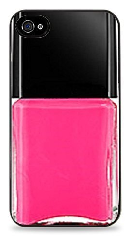 Chic Pink Impresión de esmalte de uñas negro carcasa de silicona para iPhone 5/5S