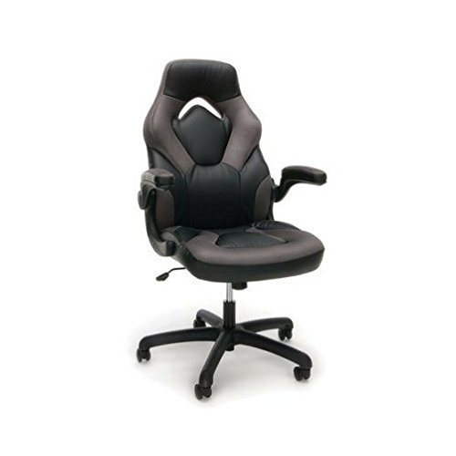 OFM Essentials Racecar-Style Leather Gaming Chair - Black an