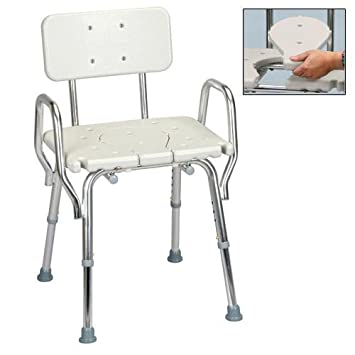 shower chair with cutout molded seat and arms