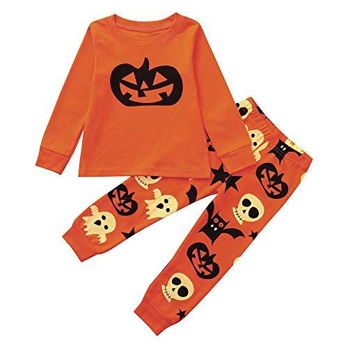 per Magliette lunghe Pantaloni Halloween Fashion Ragazze Adeshop Zucca Bambini monete Maniche 3 Set 2 Camicetta bambini Arancione Vestiti anni tee di 8 Ragazzi Girocollo Cosplay Autunno Smorfia EUnOnCqSw