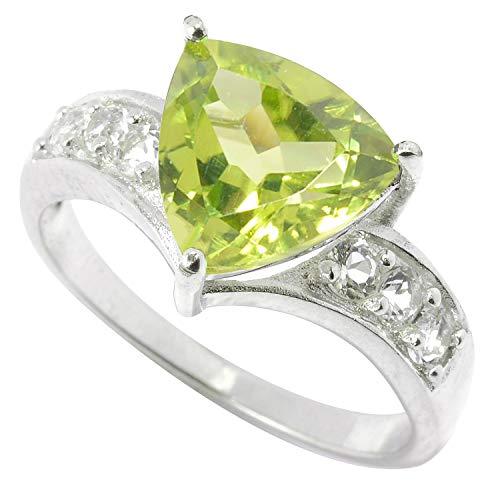 (Sterling Silver Trillion Peridot & White Topaz Solitaire Ring)