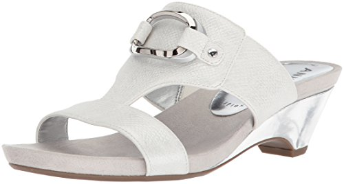 Anne Klein Women's Teela Wedge Sandal, Off White Synthetic, 9 M US