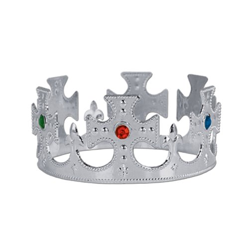Beistle 60250-S 12-Pack Plastic Jeweled King's Crown, Silver