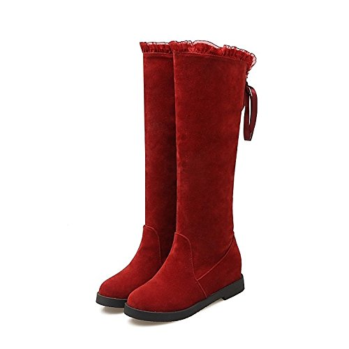 Round For leather Fashion Women's Winter Low Casual Boots Heel ZHZNVX Red Red high Boots HSXZ Shoes Null Nubuck Black Thigh Toe Fall Beige Boots Dress 5On0UqI0