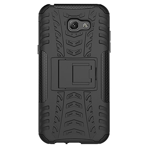 "Galaxy A7 (2017) Case, SsHhUu Tough Heavy Duty Shock Proof Defender Cover Dual Layer Armor Combo Protective Case Cover for Samsung Galaxy A7 (2017) (5.7"") Black"