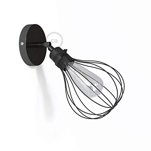Fermaluce Metallo 90° Black Pearl Adjustable with Drop lampshade, The Metal Wall Flush Light ()