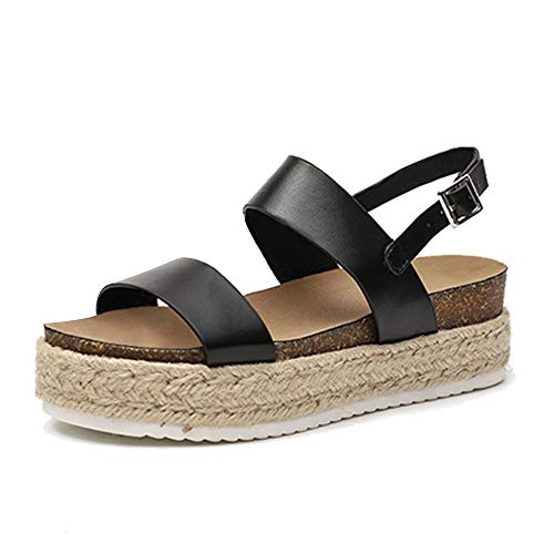 (Athlefit Women's Summer Espadrille Flatform Sandals Band Open Toe Cork Wedge Sandals Size 6 Black )