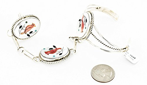 $700Tag Bird Inlaid Certified Silver Navajo Natural MOP Turquoise Onyx Spiny Native Slave Bracelet 12851
