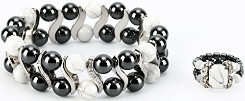 Elegant Womens Hematite Magnetic Therapy & Healing Stone Bracelet & Ring Set Pain Relief for Arthritis and Carpal Tunnel (White Howlite)