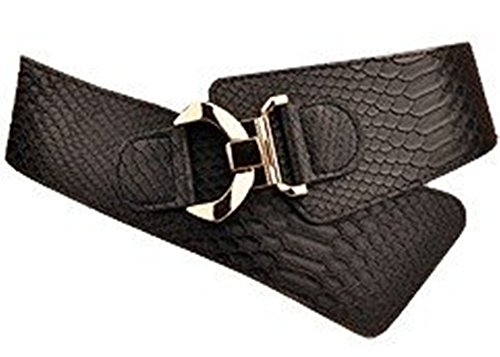 JasGood Women's Fashion Snake Pattern Wide Elastic Stretch Adjustable Waist Cinch Belt Waistband  Black  Suit Waist 29-32 Inch (Snake Designer Belt)