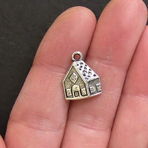 6 Gingerbread House Charms Antique Silver Tone Simply Adorab Jewelry Making Supply Pendant Bracelet DIY Crafting by Wholesale Charms ()