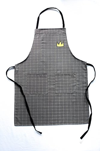 (YO JANE Crown Chef Apron with Two Side Pockets & Extra Long Ties, Check Plaid, Brown/Gray)