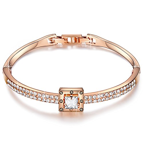 Menton Ezil 18K Rose Gold Plated Bangle Bracelet Princess Cut Zircon Diamond Jewelry Women 7″ Valentines Gifts