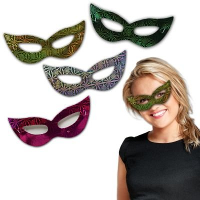 Assorted Colors Mardi Gras Masquerade Ball Cat Eye Masks (12 Pack) (Mardi Gras Balls)