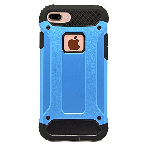 iProtect Apple iPhone 7 Plus, iPhone 8 Plus Hülle Dual Layer Hard Case stoßfeste Schutzhülle in schwarz und blau