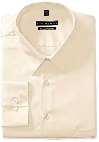 Geoffrey Beene Men's FIT Dress Shirts Sateen Solid (Big and Tall), Almond, 18