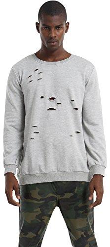 Pizoff Mens Boys Street Fashion Long Sleeve Crew Neck Solid Ripped Elastic Loose T-Shirt Sweatshirt P3265-grey-XL