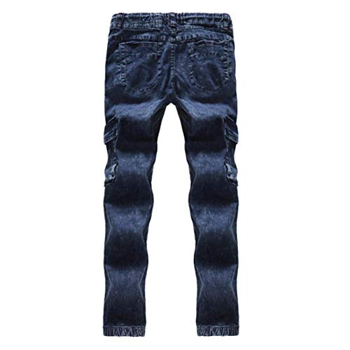 tasca Pants New In Unita Ngen Cargo Giovane Stretch T Denim Fit Ufige Multi Slim Da Fashion Cotone Con Pantaloni Blau Nne Tinta Jeans Uomo Bfxf6