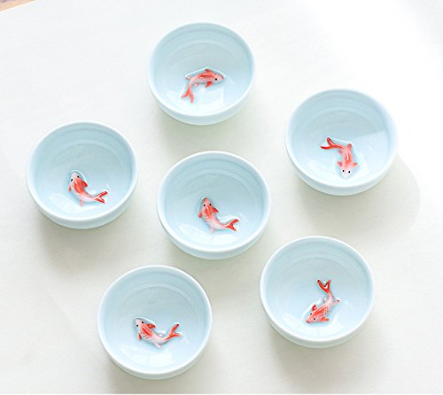 VT BigHome 6pcs Celadon Golden Fish tea set, Kung Fu Tea Cup Set Crackle Glaze Travel Tea Bowl Chinese Porcelain Teacup Set