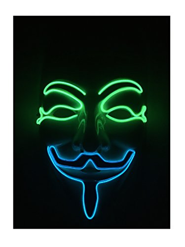El wire N Light up Mask for Birthday Party Any Parties Christmas Gifts. (Green + Blue) (Halloween N-slow)