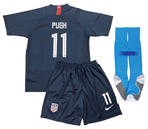 New 2019 Mallory Pugh #11 USA National Team Away Soccer Jersey Shorts & Socks for Kids/Youths (11-13 Years Old) Blue, Black