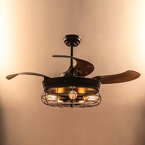 Parrot Uncle Ceiling Fan with Light 46 Inch Industrial Ceiling Fan Retractable Blades Vintage Cage Chandelier Fan with Remote Control, 5 Edison Bulbs Needed, Not Included, Black by Parrot Uncle (Image #6)