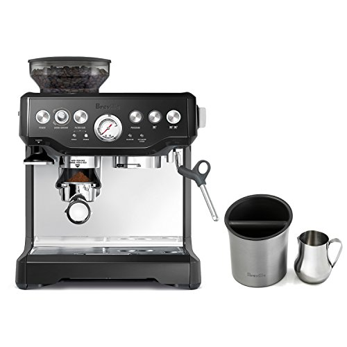 Breville Barista Express Black Sesame Espresso Machine with Knock Box and 19 Ounce Milk Steamer Jug