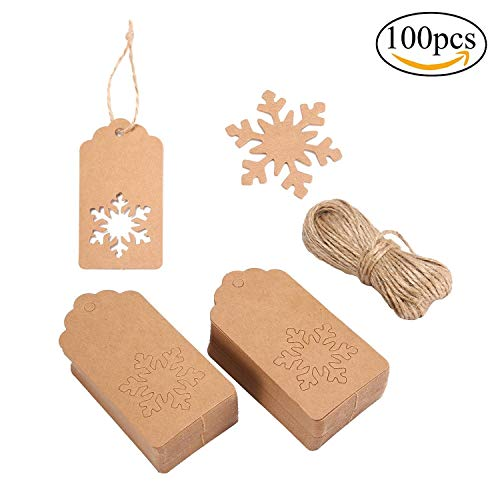 - HOCIWOM Kraft Paper Gift Tags, Snowflake Shape Hang Labels with 20 Meters Natural Jute Twine for DIY Crafts,Wedding and Party Decoration, 100 Pack