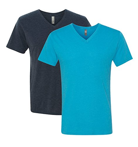 Next Level Triblend Vee Tee, Vintage Navy + Vintage Turquoise (2 Pack), Medium by Next Level