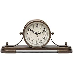 Timelink 33657 Crosley Alarm Clock for Desk and Mantel, Nautical Style, All Metal Construction, Antique Design, Bronze