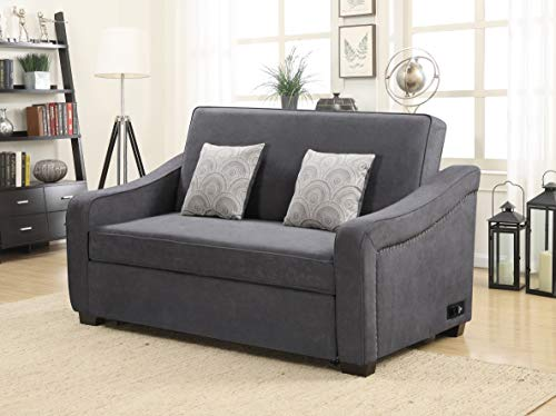 Serta Harlan 3-Seat Convertible Sofa with Nail-Head Trim, Grey