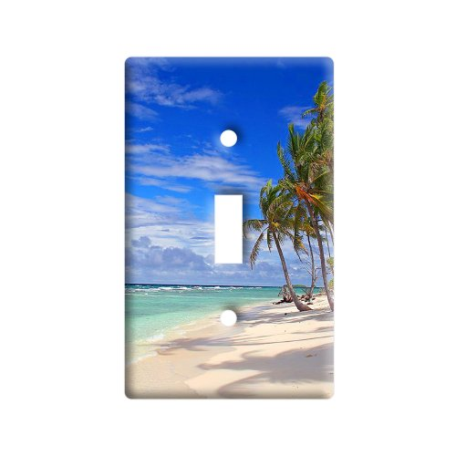 Tropical Beach - Island Sky Clouds Vacation - Plastic Wall Decor Toggle Light Switch Plate Cover