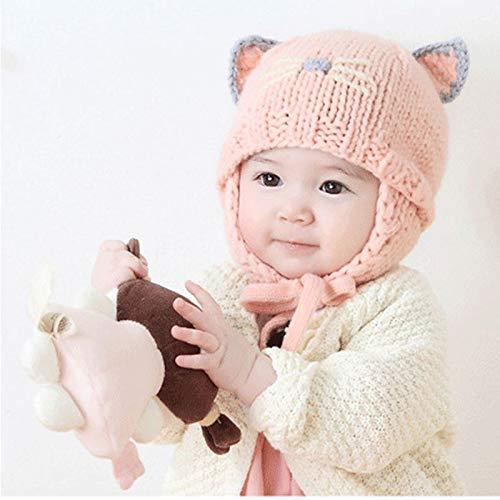 Zyyaxky Baby-Strickmütze Koreanischer Frühling Und Herbst Neugeborenes Ohrenschützer Säuglingsmädchen Baby Winterwärmer, Geb.