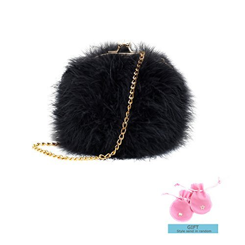 Zarapack Women's Genuine Fluffy Feather Fur Round Clutch Shoulder Bag (Black)