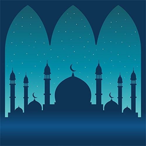 CSFOTO 4x4ft Background for Mosque Night Silhouette Photography Backdrop Ramadan Muslim Islam Religion God Arabic Islamic Pray Arab Eid Traditional Minaret Photo Studio Props Polyester Wallpaper]()
