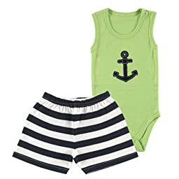 Hudson Baby Bodysuit & Shorts, Blue, 0-3 Months