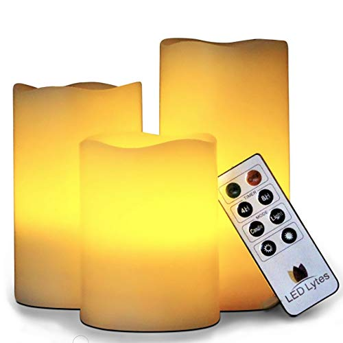 LED Lytes Flickering Flameless Candles Set of 3 Ivory Wax Flickering Amber Yellow Flame, Auto-Off Timer Remote Control Fake Battery Operated Candles
