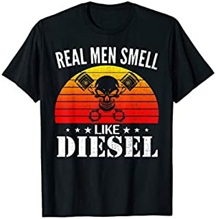 Retro Real Men Smell Like Diesel Funny Mechanic Cool Gift T-shirt | Size S - 5XL