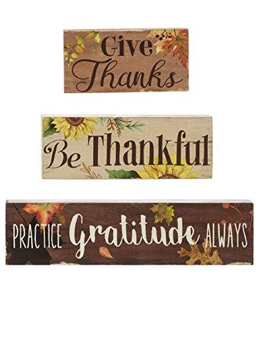 Ganz Thankful Grateful Blessed Stacking Block Signs Set of 3 (Blocks Give Thanks)